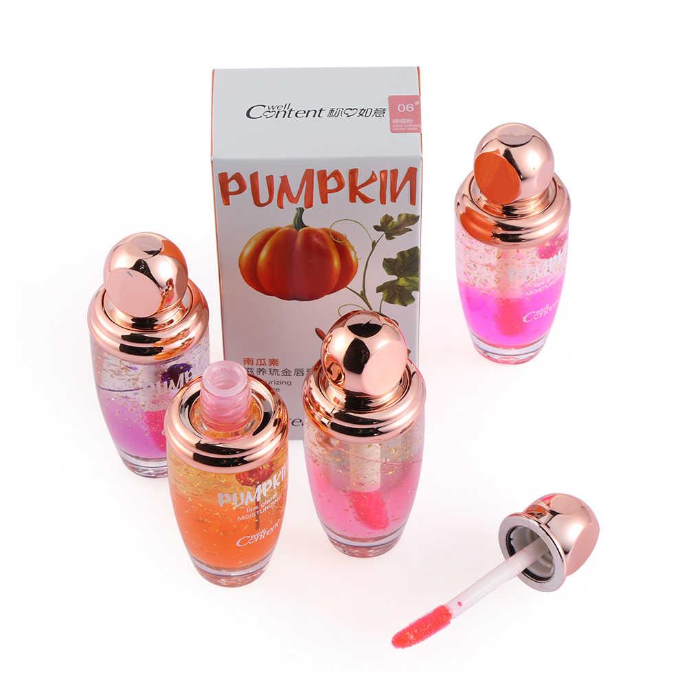 Pelembab 3D Lip Plumper Gloss Gaya Make Up Korea Suhu Berubah Crystal Emas Foil Flower Jelly Lipstik 6 Warna