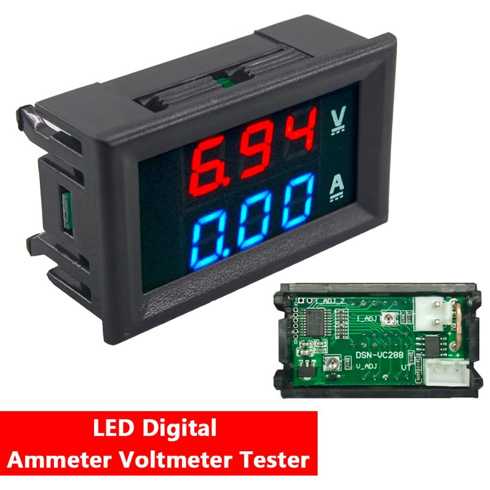 Mini Digital Voltmeter Ammeter DC 100V 10A Voltmeter Current Meter Tester Blue+Red Dual LED Display