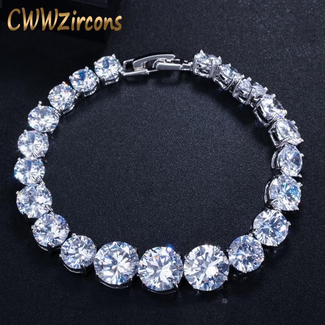 CWWZircons Luxury CZ Bridal Jewelry Silver Color Round Shape Big Cubic Zirconia Bracelets Bangles for Women CB150