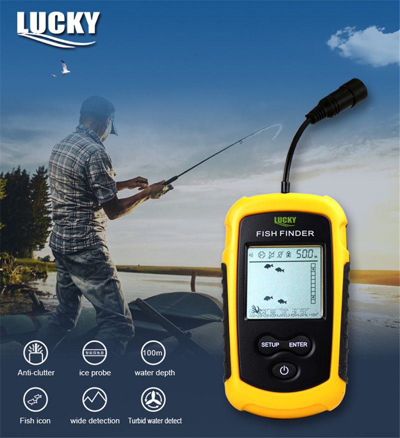 Lucky Sonar Fish Finder Alarm FF1108-1 100M Portable Sonar Sensor LCD Fishfinder Deeper Echo Sounder Transducer for Fishing Lure (1)