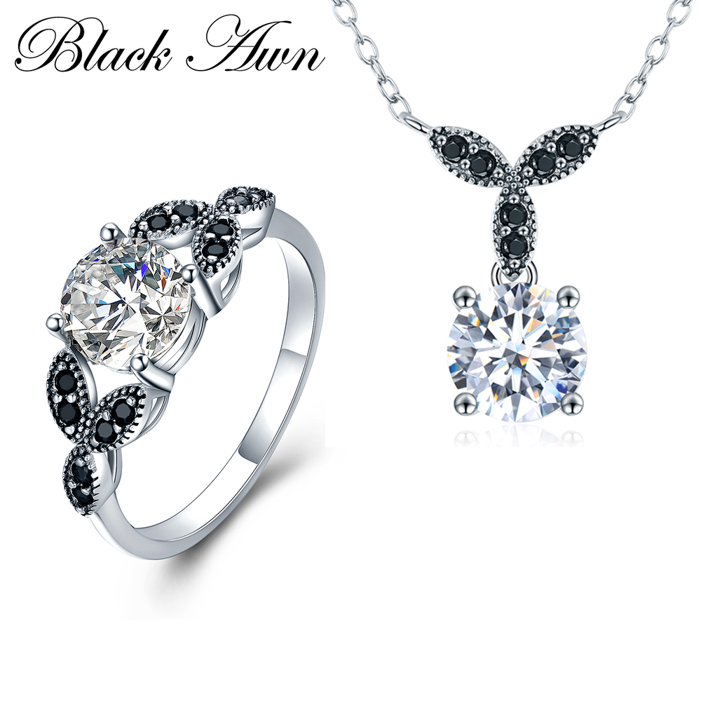 BLACK AWN 925 Sterling Silver Fine Jewelry Sets Trendy Engagement Sets Wedding Necklace Ring for