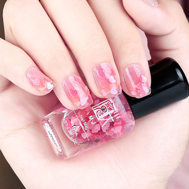 1 Bottle 8ml Sequins Transparent Nail Polish Flower Love Heart Beauty Finger Pink Purple Color Nailpolish Shiny Gel