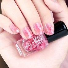 1 Bottle 8ml Sequins Transparent Nail Polish Flower Love Heart Beauty Finger Pink Purple Color Nailpolish Shiny Gel