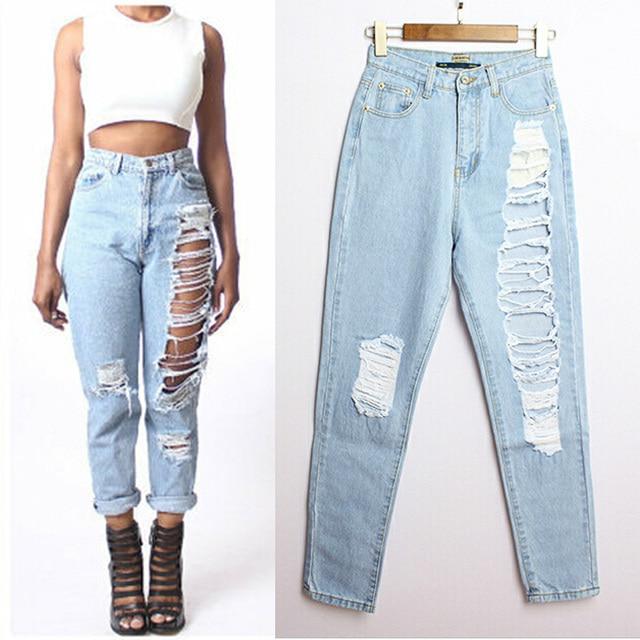 25fb0c7a0 2015 true brand destroyed boyfriend jeans plus size calca feminina cintura  alta denim distressed washed trousers for women