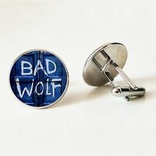 Doctor Who Inspired Bad Wolf Tardis Cufflinks,Handmade Glass Cabochon silver Cufflinks