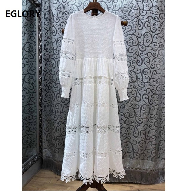 White Long Dress 2019 Spring Summer Evening Maxi Dress Women O-Neck Hollow Out Embroidery Long Sleeve Dress Elegant Vestidos