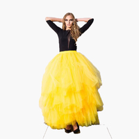 Multilayer Tulle Skirts 2016 Tutu Tiered Yellow Full Long Party Skirts Chic Floor Length Ball Gown Women Maxi Skirts