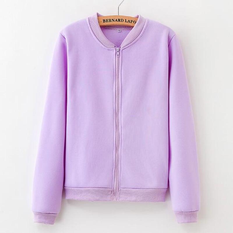 2019 New Women Hoodie Sweatshirt Zipper Hooded Pure Color Jacket Coat Autumn Fashion Office Young Girl School Cheap
