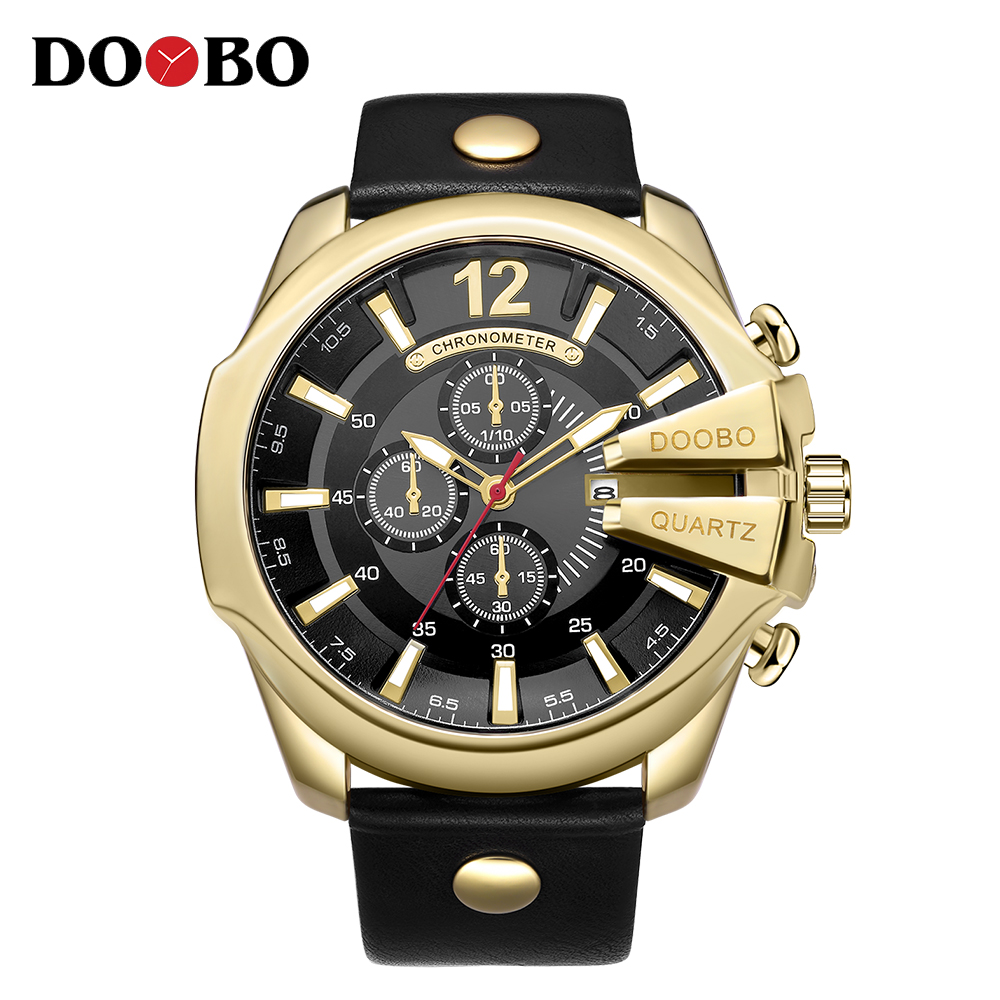 DOOBO New Gold Sports Quartz Watches Men Fashion Casual Top Brand Luxury Wrist Watches Clock Male Military Army Steel Clock