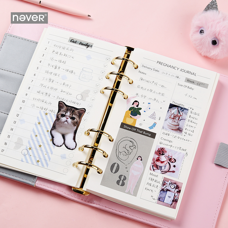 Image 4 - Never Cute Kitty Cat Spiral Notebook Korean Diary A6 Planner Organizer Grid Dotted Filler Paper Student Girls Gift Stationery-in Notebooks from Office & School Supplies
