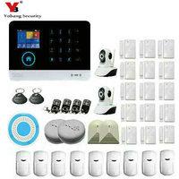 Yobang Security WIFI home alarm system 3G GSM GPRS Menu operating APP multi language remote control RFID card support 3G SIM
