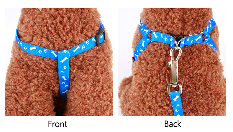 Adjustable Nylon Dog Leash and Harness Set for Small Dogs Cats Colorful Printed Dog Chest Straps Traction Rope Pets Leash Belt (7)
