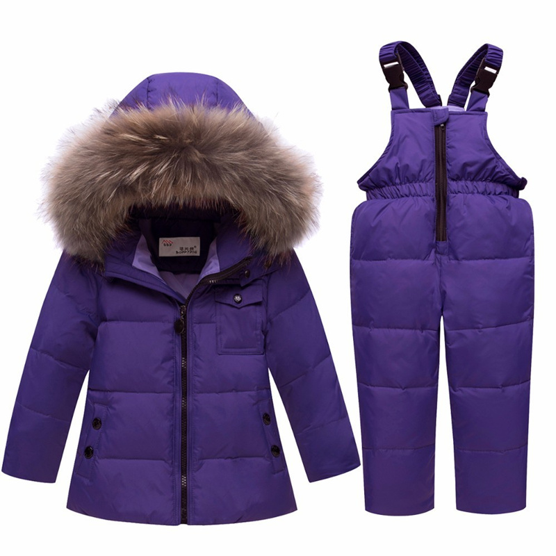 Children Fur Hooded Boy Girl Duck Down Ski Sets Warm Kids Snowsuit Winter Clothes Outerwear Coat 2019 Boy Girls Down Ski suit