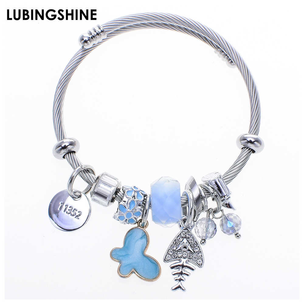 Exquisite Butterfly Charms Stainless Steel Bracelets Bangles Crystal Ball Animal Pendant Adjustable Bracelet Jewelry for Women