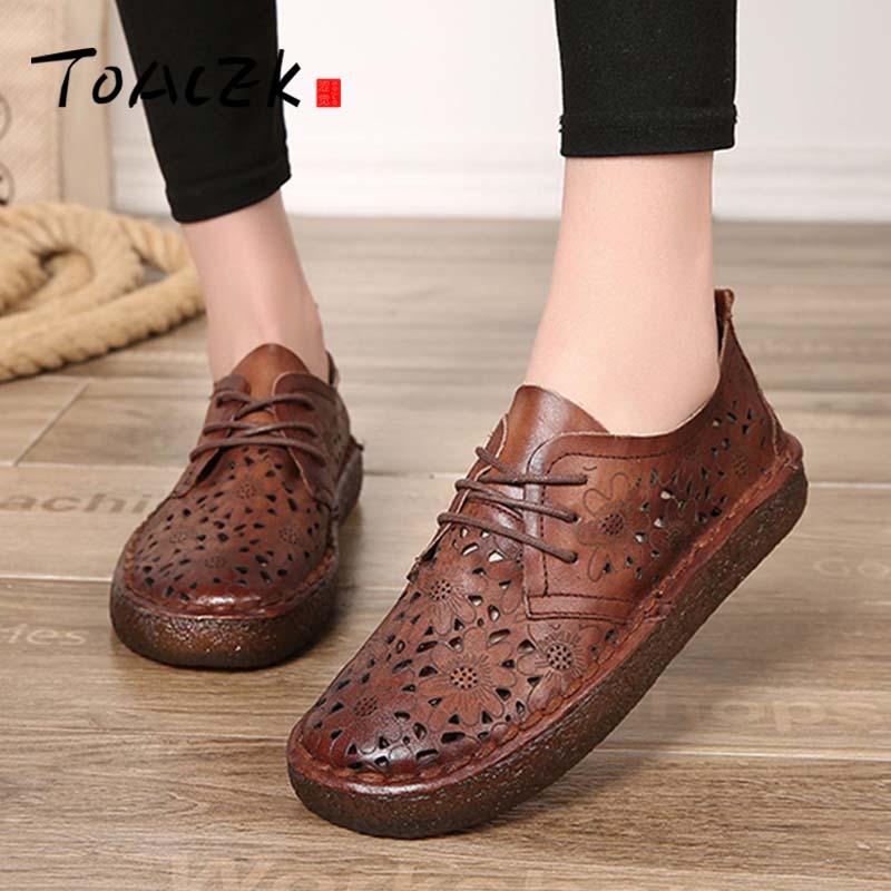 Summer new European and American handmade leather retro soft bottom shoes Britis