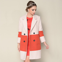 High-end European style spell straight lengthy wool coats girls woolen 2016 in autumn and winter the brand new thickened