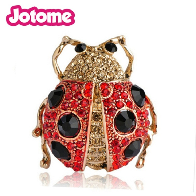 Antique Jewelry Red Ladybug Beetle Brooch Insect Animal Black Spot Ladybug  Pin