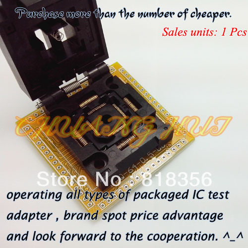 FPQ-64-0.5-06 IC Socket FPQ64/TQFP64/QFP64 Test Socket Pitch:0.5mm Size:10x10/12x12mm xeltek private seat tqfp64 ta050 b006 burning test