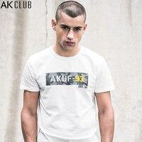 AK CLUB Men T Shirt Camouflage Letter Print T Shirt Short Sleeve O Neck Tshirt Urban