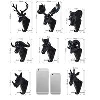 Creative Animals Hooks Rhino Elephant Deer Head Horse Head Animal Decorative Hook Resin Process Bathroom Hooks Key Hook