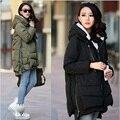 2016 Nova Fashional Aarrivals Mulheres jaqueta Casaco Com Capuz Estilo Longo Casaco de Inverno Quente Mulheres Plus Size M ~ XXXL w-043