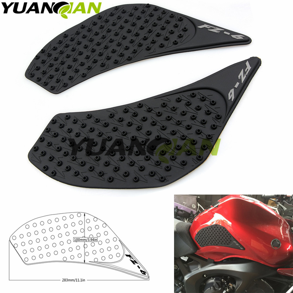 For Yamaha FZ6N 2006 2007 2008 2009 2010 FZ 6N FZ6 N Protector Anti slip Tank Pad Sticker Gas Knee Grip Traction Side 3M Decal new arrival black tempered plastic motorcycle rear tail section cowl fairing cover for yamaha fz6n fz6s fz 6n 6s fz 6n fz 6s