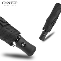 CHN TOP Automatic Windproof Umbrella Men Rain Women Travel 3 Folding Golf Umbrella Business Auto Open