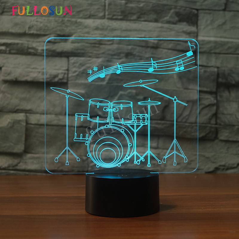 Color Changing Drum Kit 3D Desk Lamp Office Decoration LED Night Lamp 5V USB Touch Table Lamps