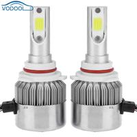 1Pair Universal 6500K 5000LM 9006 LED COB Car Headlight Head Lamp Bulb Built In Drive High