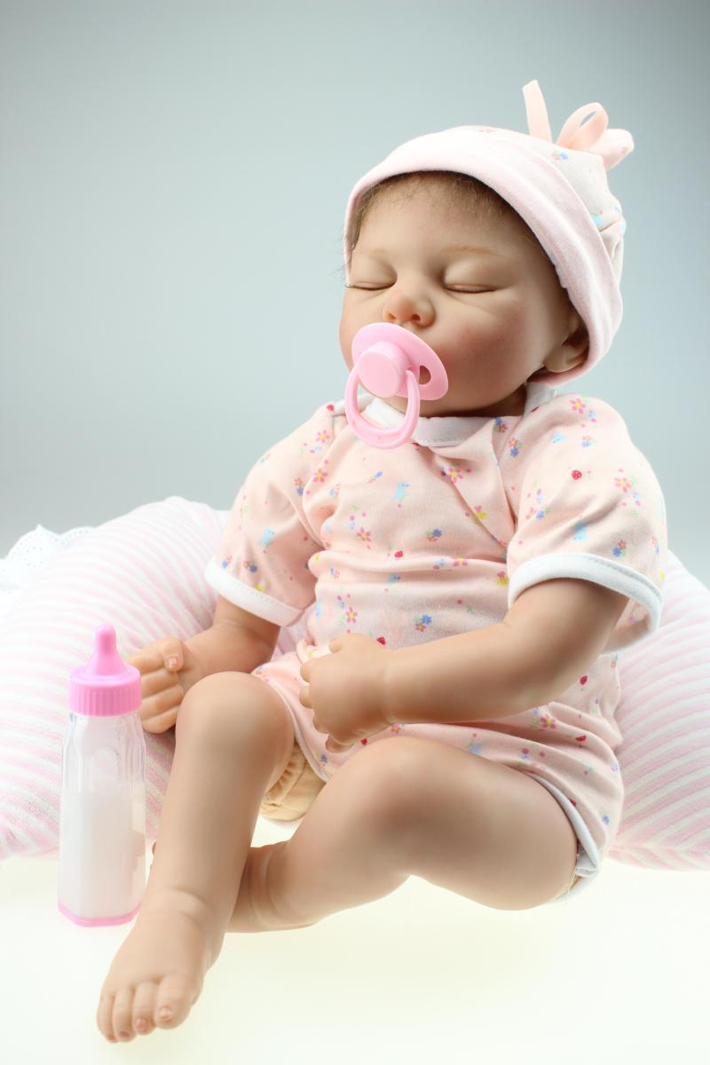 55CM Silicone reborn baby doll toys for girl, lifelike reborn babies gifts Soft Vinyl Sleeping Dolls Magnet Pacifier bonecas