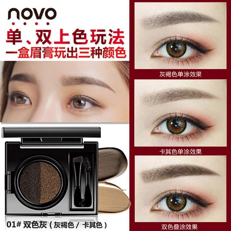 Two-color Fog Cushion Air Cushion Liquid Eyebrow Pencil Eyebrow Dye Eyebrow Powder Long-lasting Waterproof Beauty Tools Beauty & Health
