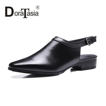 DoraTasia new fashion full grain leather buckle up Women Pumps sexy Square toe low Heels cow leather dating Party Shoes