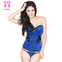 Chain Floral Pattern Women Gothic Clothing Corsets And Bustiers Blue Corset Sexy Burlesque Costumes Steampunk Corsetti E Bustini
