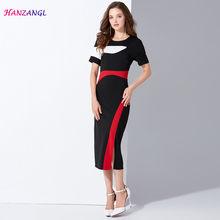 14fb78a155 HANZANGL New 2018 summer women dress contrast color waist slim pack hip  short sleeve work office