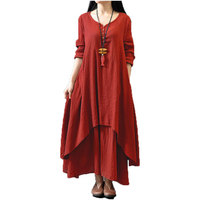 Top Fashion 2018 Autumn Women Casual Loose Long Sleeve Dress Solid Long Maxi Dress Vestidos Plus Size S-5XL