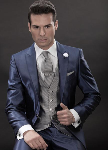 2015high Quality navy blue Fashion Groom Tuxedos Jackets Wedding