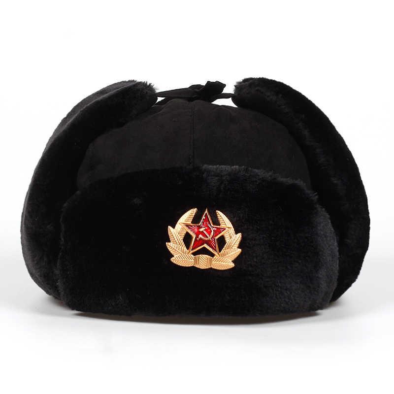 Russian Ushanka Hat Military Russia Ushanka Bomber Hats Pilot Trapper Cap Winter Ear Flaps Cap Snow Caps Hat Ear Protection Bonnet