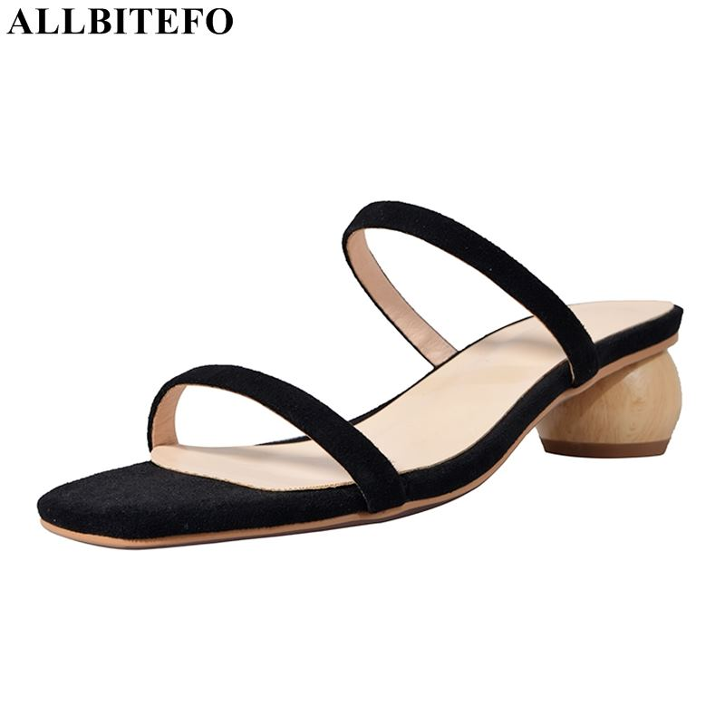 ALLBITEFO new summer genuine leather high heels women shoes women high heel shoes summer beach women