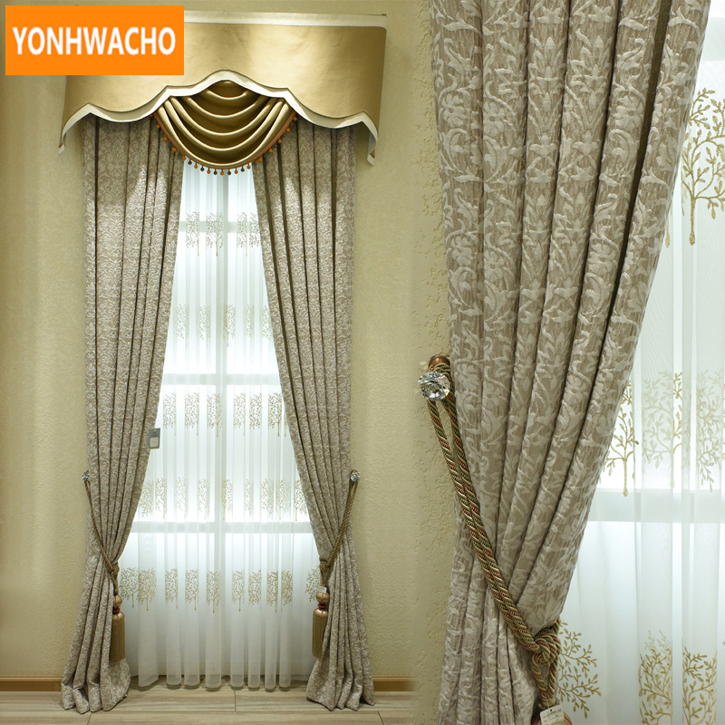 Custom curtains High-precision embossing Neoclassical luxury Nordic simple cloth blackout curtain tulle valance drape N775 window valance