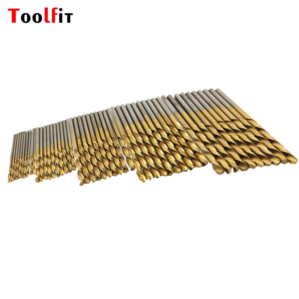 Toolfit 50Pcs Metal Twist Drill Bit Set Saw Set HSS High Steel Titanium Coated Drill Woodworking Wood Tool 1/1.5/2/2.5/3mm 50pcs set twist drill bit set saw set 1 1 5 2 2 5 3mm hss high steel titanium coated woodworking wood tool drilling for metal