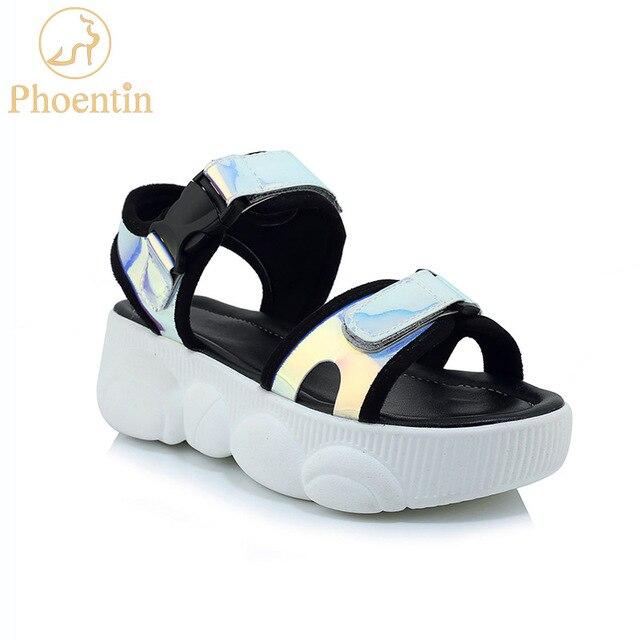 d437b986 Phoentin alta plataforma de zapatillas deporte sandalias hebilla casual  zapatos mujer verano 2019 calzado frente abierto plus tamaño tacones planos  FT681