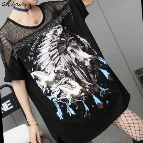 Punk Top Tees Perspective Mesh Patchwork O Neck Horse Print Wome loose t Shirt vintge t shirt hiphop tees Big Size LT216S30