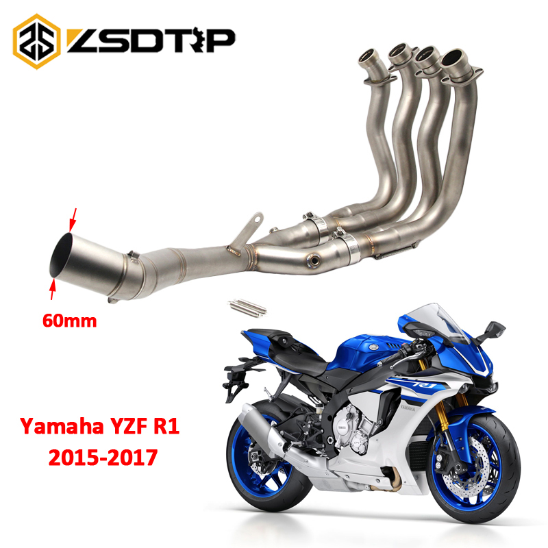 ZSDTRP 61mm Slip On Full System For Yamaha YZF R1 2015-2017 Motorcycle Muffler Exhaust Escape Set With Front Middle Pipe
