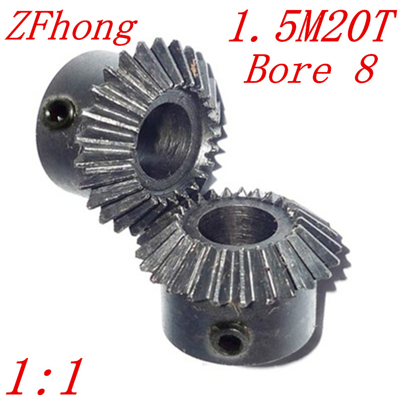 цена на 1 pair 1.5M20T bore 8 1:1 Metal Bevel Gears 1.5 Module 20 Teeth With Inner Hole 8mm 90 Degree Drive Commutation