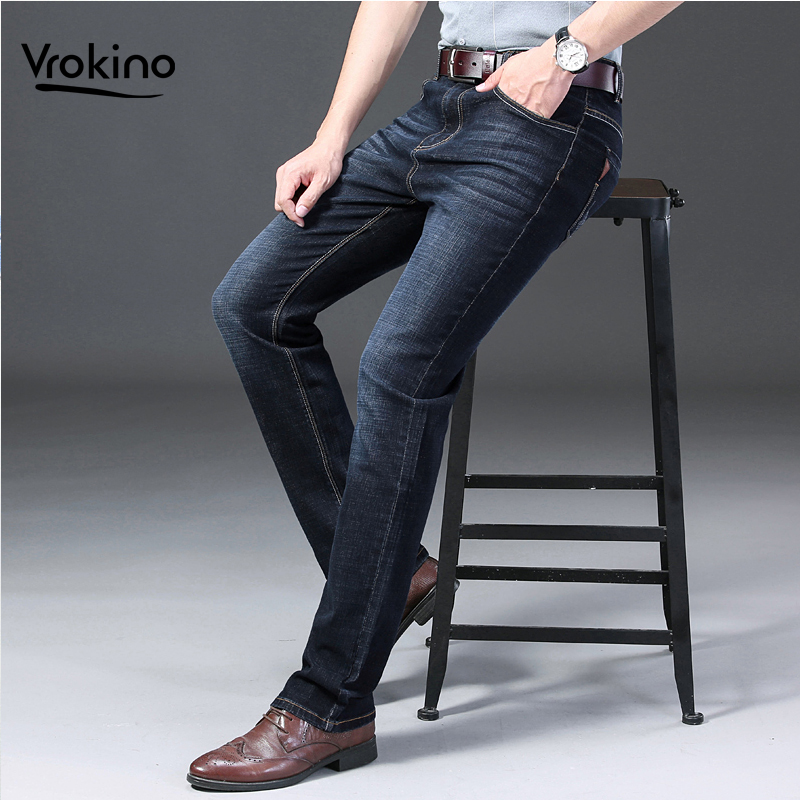 40 42 44 Men's Business Casual Stretch Jeans New Autumn And Winter Of 2019 Fashion Slim Classic Men's Trousers Men's Blue Black