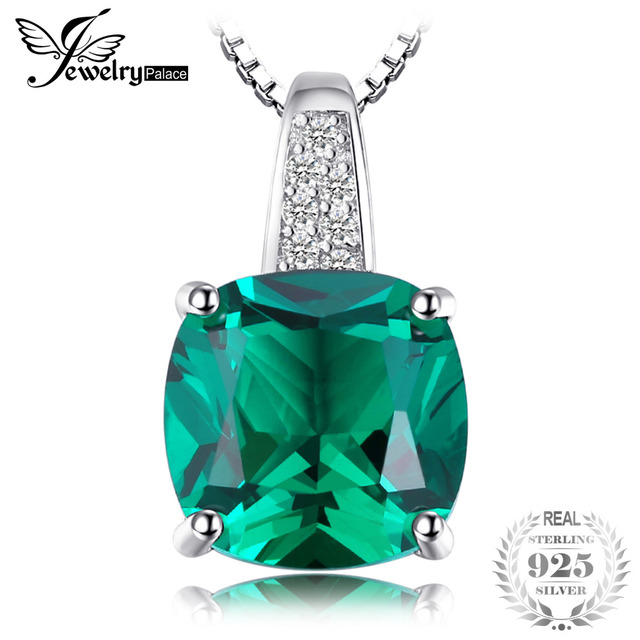 JewelryPalace Cushion 3.4ct Created Green Emerald Solitaire Pendant 925 Sterling