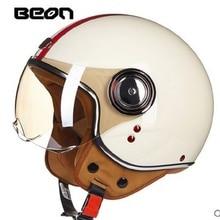 Бесплатная доставка, beon b110a открытым лицом 3/4 мотоцикл мотоцикл каско capacete шлем, jet старинные ретро шлем, скутер шлем, ЕЭК