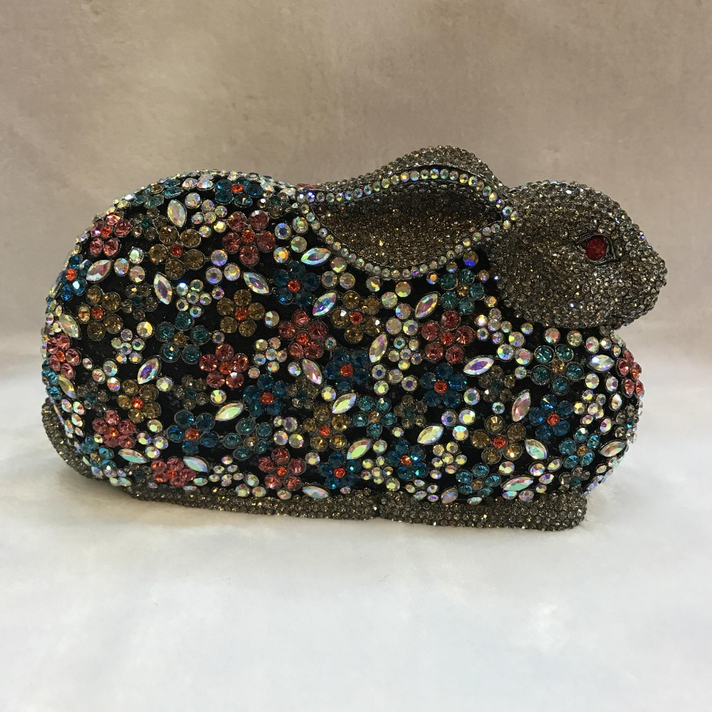 XIYUAN rabbit shape Fashion Designer multi colour Clutch Evening bags Party Wedding chain Handbags Female small clutch Purse цена