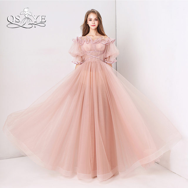 8df81b6aab83 QSYYE Pink Long Prom Dresses 2018 Robe de Soiree Off Shoulder Ruffles Neck  Floor Length Tulle Formal Evening Dresses Party Gown