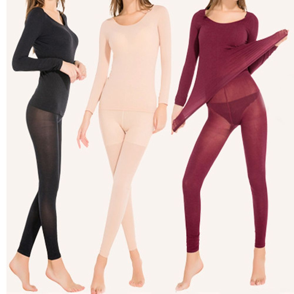 High Quality Women Winter Good Elastic Thermal Ultrathin Light Long Johns Body Suit Long Underwear Set Thermal Underwear